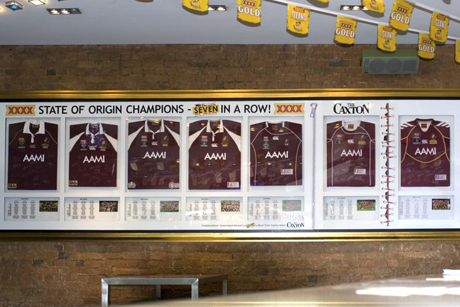 framed memorabilia, caxton street qld jerseys