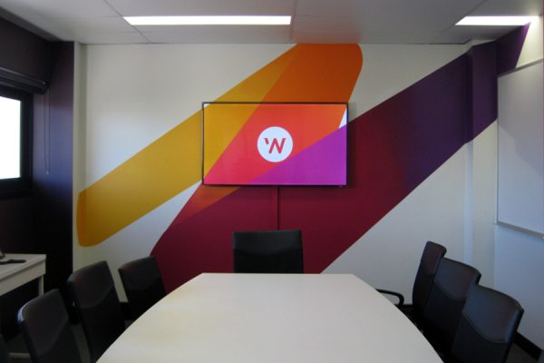 Wall treatments - wall paper, cut out lettering, 3D letters, shapes, reception signage